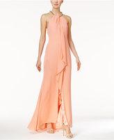 Calvin Klein Draped Chiffon Gown
