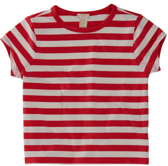 Forever 21 Girls' Blouses Red - Red Stripe Crop Top - Girls