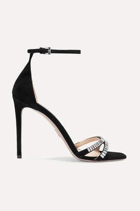 Prada 105 Crystal-embellished Suede Sandals - Black