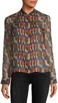 Dries Van Noten Women's Printed Silk Chiffon Blouse