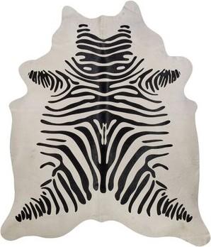 Saddlemans Zebra Animal Print Cowhide Black/White Area Rug