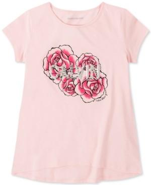 Calvin Klein Big Girls Cotton Flip-Sequin Rose T-Shirt