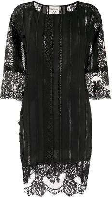 Semi-Couture Lace Embroidered Mini Dress