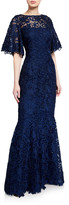 Rickie Freeman For Teri Jon Flutter-Sleeve Metallic Lace Gown