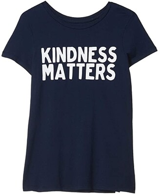 The Original Retro Brand Kids Kindness Matters Vintage Cotton Crew Neck Tee (Big Kids) (Navy) Girl's Clothing