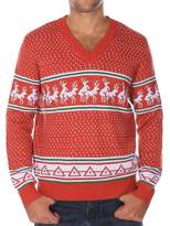 Tipsy Elves Ugly Christmas Sweater - Men's Reindeer Conga Line V-Neck Sweater Size XXL