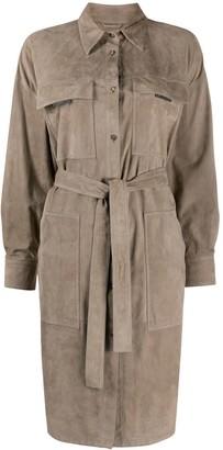 Brunello Cucinelli Point-Collar Tie-Waist Trench Coat