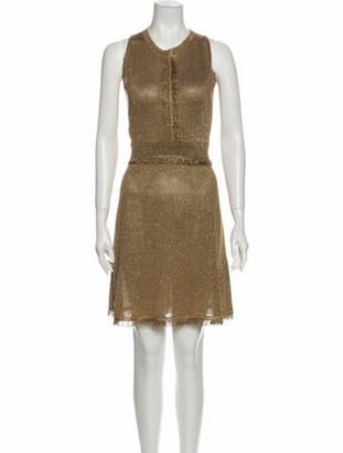 Versace Crew Neck Knee-Length Dress w/ Tags Gold