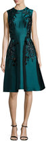 Lela Rose Sleeveless Floral-Embroidered Dress, Teal
