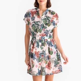 Paul & Joe Sister Tropicat Printed Buttoned Short-Sleeved Dress