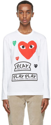Comme des Garcons White and Red Multi Logo Long Sleeve T-Shirt
