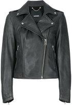 Diesel cropped biker jacket - women - Cotton/Lamb Skin - M