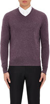 Piattelli MEN'S CASHMERE V-NECK SWEATER-PURPLE SIZE S
