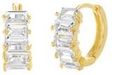 Bliss 18k Gold Sterling Silver Cz Baguette Huggie Earrings.