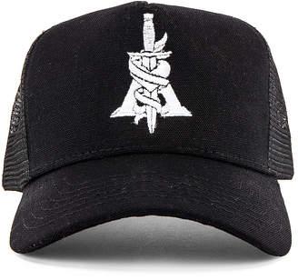 Amiri A Dagger Cotton Trucker Hat in Black   FWRD