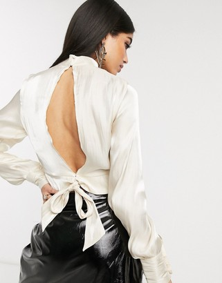 NA-KD Na Kd open back tie detail blouse in off-white-Grey