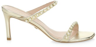 Stuart Weitzman Aleena Faux Pearl-Embellished Metallic Leather Mules