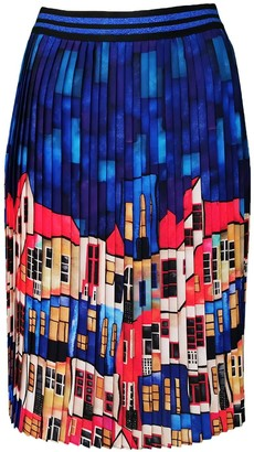 Lalipop Design Multi-Color Pleated Midi Skirt With House Pattern
