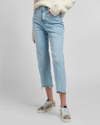 Express Super High Waisted 4-Way Hyper Stretch Raw Hem Straight Jeans