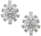 Carolee Silver-Tone Crystal Starburst Stud Clip-on Earrings