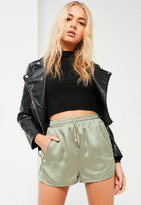 Missguided Green Silky Zip Detail Runner Shorts