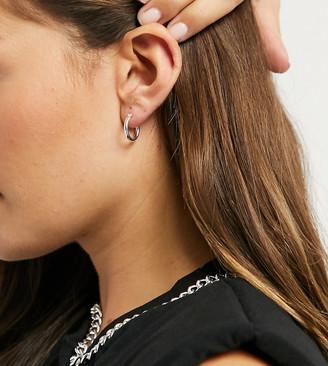 ASOS DESIGN sterling silver small tube hoop earrings in 15mm