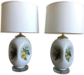 One Kings Lane Vintage Italian Majolica Lamps w/Shades - Set of 2 - C the Light Interiors - white/green/multi