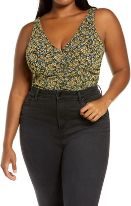Leith Ruched Sleeveless Bodysuit