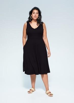 MANGO Violeta BY Flowy midi dress black - 10 - Plus sizes