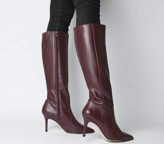Office Keep Up Stiletto Knee Boots Burgundy Leather