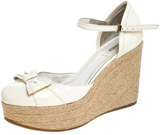 Fendi White Patent Leather Wedges Espadrille Ankle Strap Platform Sandals Size 38