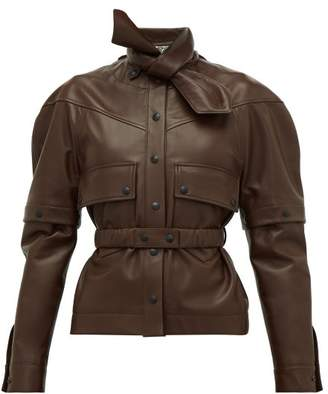 Symonds Pearmain - Deconstructed Leather Jacket - Womens - Brown