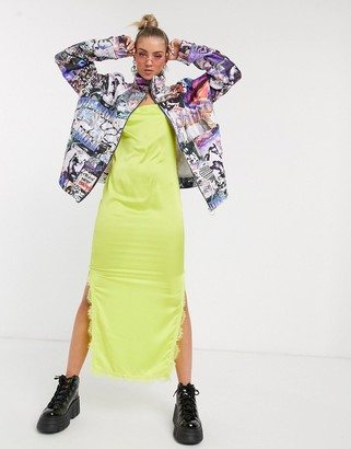 Jaded London oversized quilted jacket in glitch print-Multi