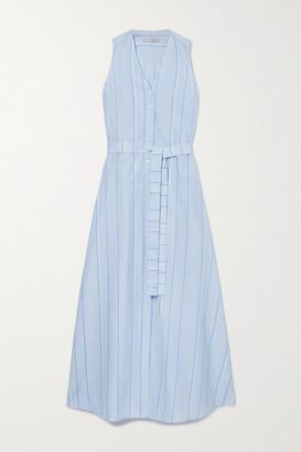 Palmer Harding palmer//harding - Sedona Striped Belted Cotton And Linen-blend Maxi Dress - Light blue