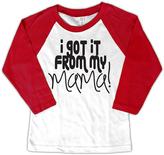 Micro Me White & Red 'I Got it from My Mama' Raglan Tee - Toddler & Girls