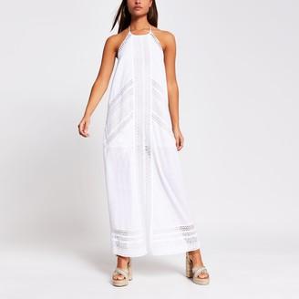 River Island Womens White halter maxi beach dress