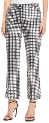 Michael Kors Painterly Stripe Crepe Cady Cropped Trousers