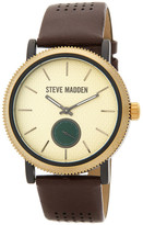 Steve Madden Women&s Two-Tone Alloy Brown Leather Strap Watch