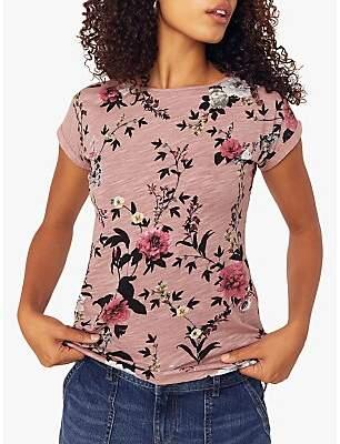Oasis Rose Floral Print Slub T-Shirt, Pink/Multi