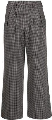 Folk Mini-Check Wide-Leg Trousers