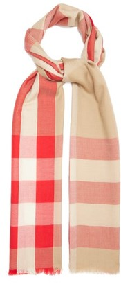 Burberry Giant Check Cashmere Scarf - Beige Multi