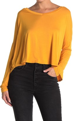 Double Zero V Neck Long Sleeve Swing Top