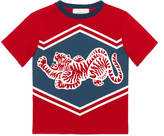 Gucci Children's cotton t-shirt with tiger and 25 print