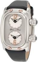 Glam Rock Women's Monogram Dual Time Dial Black Leather Watch GLAMROCK-GR72400