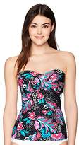 Anne Cole Women's Multi Floral Print Twist Front Shirred Tankini Top