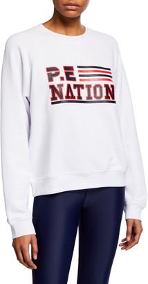 P.E Nation Blacktop Logo Raglan Pullover Sweatshirt