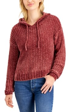 Hooked Up by IOT Juniors' Hooded Chenille Sweater