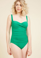 ModCloth Summer in the Sizzle One-Piece Swimsuit in Emerald in 16
