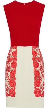 Philosophy di Lorenzo Serafini Floral-print Two-tone Crepe Mini Dress