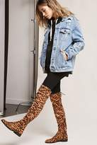 Forever 21 Yoki Leopard Print Over-the-Knee Boots